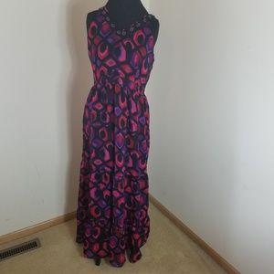 NY Collection Full Length Beaded V-neck Dress